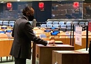 India's Permanent Representative T S Tirumurti votes in the United Nations Security Council elections in the General Assembly chamber on Wednesday, June 17, 2020. (Photo: Indian Mission)