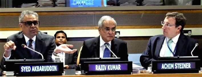 India's Permanent Representative to the United Nations Syed Akbaruddin, from left, Niti Aayog Vice Chairperson Rajiv Kumar and UN Development Programme Administrator Achim Steiner at the special ...