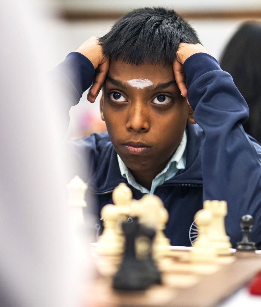 India's Praggnanandhaa R during the finals of World Youth Chess Championship 2019 against Germany's Valentin Buckels in the U 18 Open category, in Mumbai on Oct 12, 2019.
