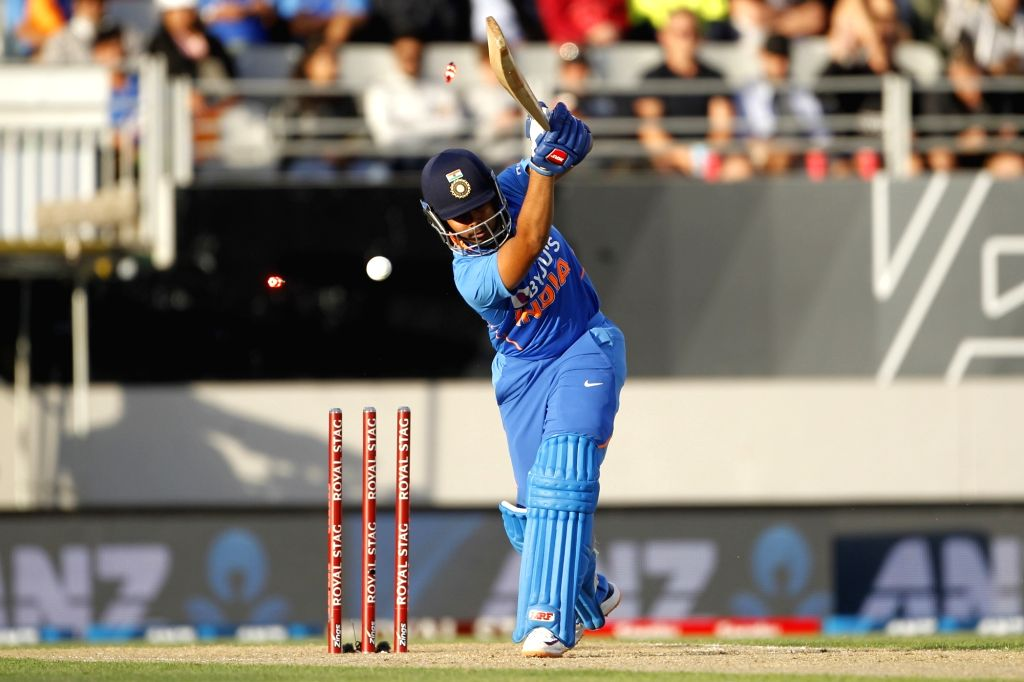 India's Prithvi Shaw in action during the the second ODI of the three-match series between India and New Zealand at the Eden Park in Auckland, New Zealand on Feb 8, 2020.