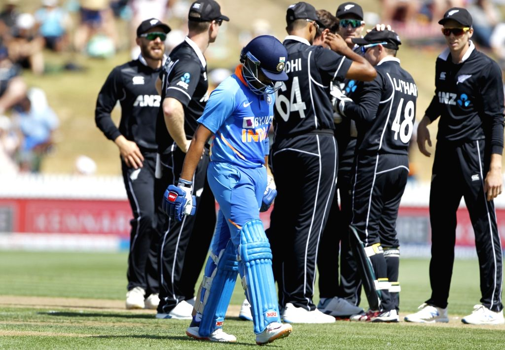 India's Prithvi Shaw walks back to the pavilion after getting dismissed during the 1st ODI of the three-match series between India and New Zealand at the Seddon Park in Hamilton, New ...