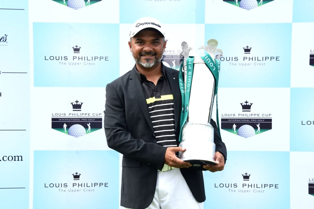 India's Rahil Gangjee, who won the USD 75000 Louis Philippe Cup at Bengaluru's Prestige Golfshire Club on Aug 3, 2018.
