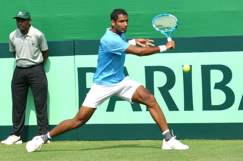 India's Ramkumar Ramanathan during a Davis Cup World Group rubber against Italy's Andreas Seppi in Kolkata, on Feb 1, 2019.