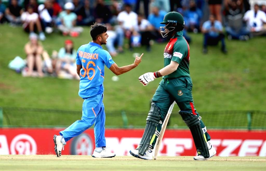 India's Ravi Bishnoi celebrates a wicket during the ICC U19 World Cup final between India and Bangladesh, in Potchefstroom, South Africa on Feb 9, 2020.