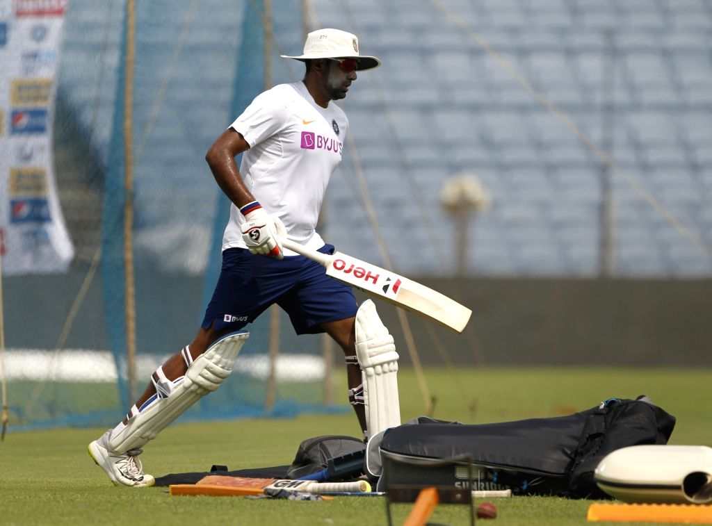 India's Ravichandran Ashwin during a practice session ahead of the 2nd Test match against South Africa, at Maharashtra Cricket Association Stadium in Pune, on Oct 9, 2019.
