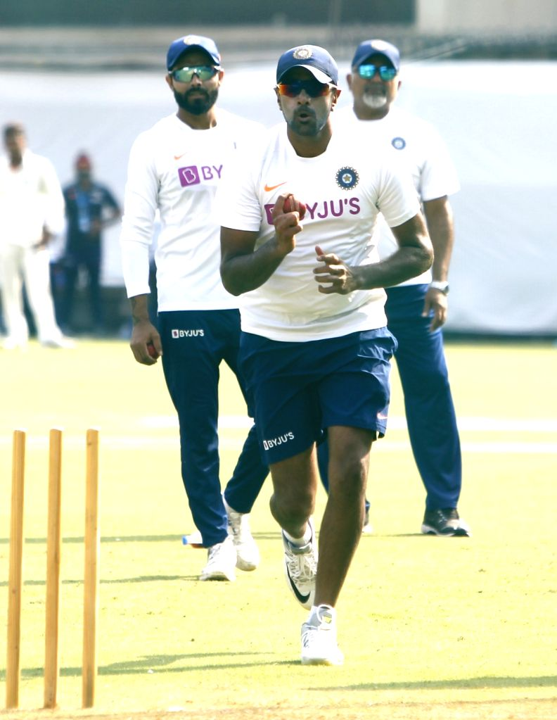India's Ravichandran Ashwin during a practice session ahead of the 1st Test match against Bangladesh, at Holkar Cricket Stadium in Indore, Madhya Pradesh on Nov 12, 2019.