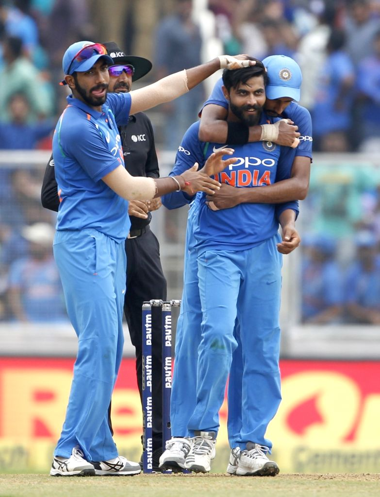 India's Ravindra Jadeja celebrates fall of a wicket during the fifth and final ODI match between India and West Indies in Thiruvananthapuram, on Nov. 1, 2018. - Ravindra Jadeja
