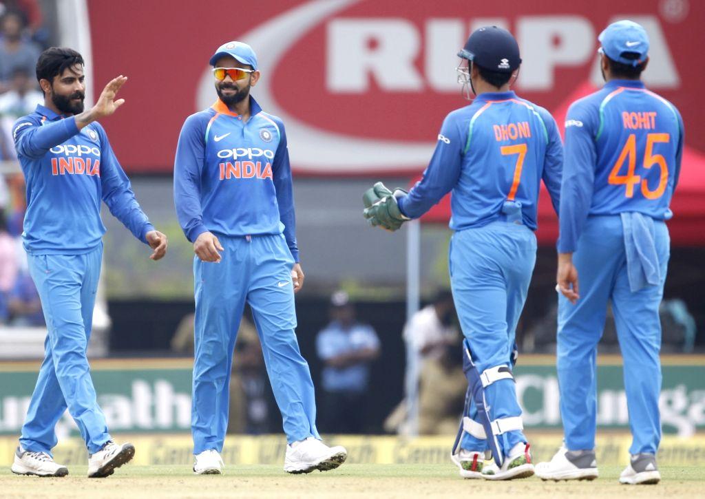 India's Ravindra Jadeja celebrates fall of  Marlon Samuels' wicket during the fifth and final ODI match between India and West Indies in Thiruvananthapuram, on Nov. 1, 2018. - Ravindra Jadeja
