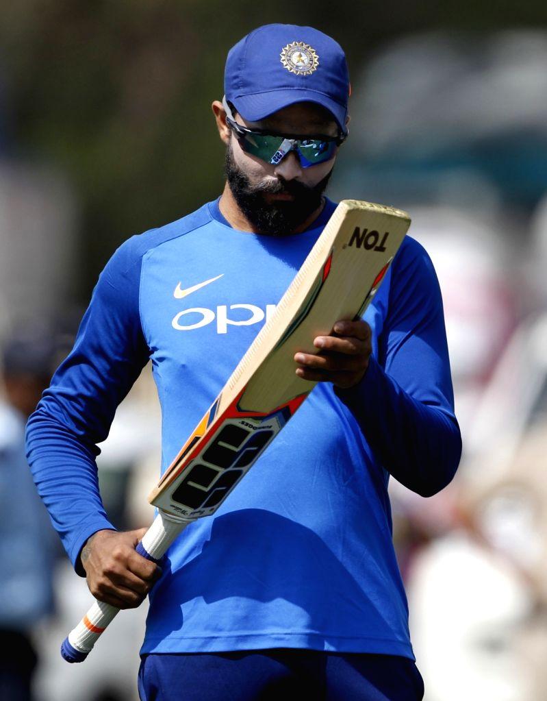 India's Ravindra Jadeja during a practice session ahead of the 2nd ODI match against Australia, at Vidarbha Cricket Association (VCA) Stadium, in Nagpur, on March 4, 2019. - Ravindra Jadeja