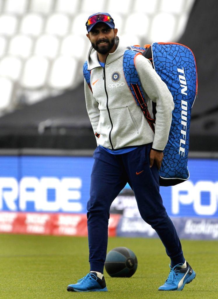 India's Ravindra Jadeja during a practice session ahead of 2019 ICC Cricket World Cup match against Australia, at the Oval in London on June 8, 2019. - Ravindra Jadeja