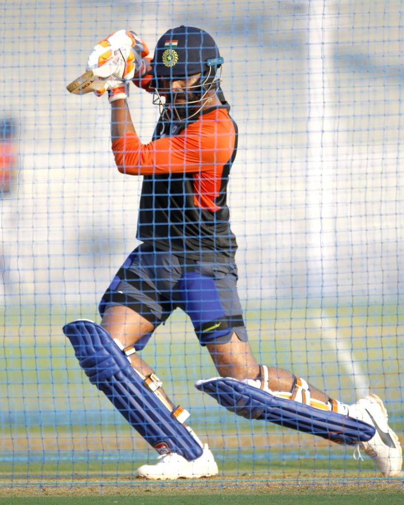 India's Ravindra Jadeja in action during a practice session ahead of the fourth ODI match against West Indies, at Cricket Club of India in Mumbai, on Oct 28, 2018. - Ravindra Jadeja