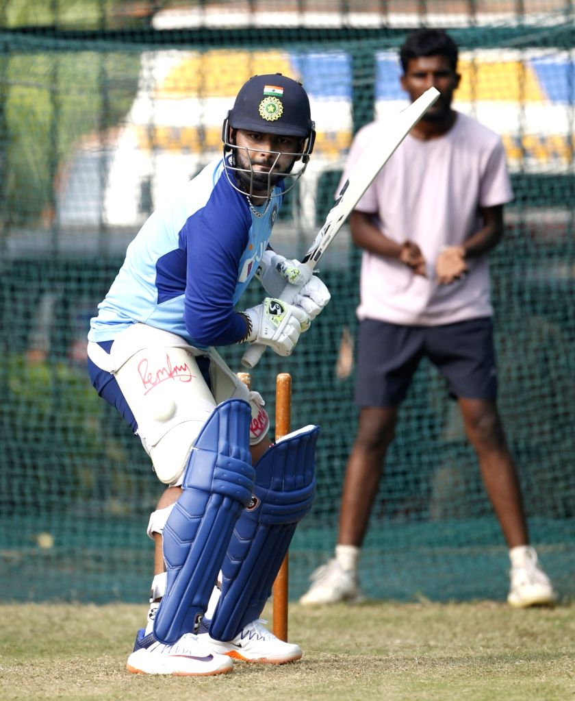 India's Rishabh Pant during a practice session ahead of the first Twenty20 match between India and West Indies at Rajiv Gandhi International Cricket Stadium in Hyderabad on Dec 4, 2019.