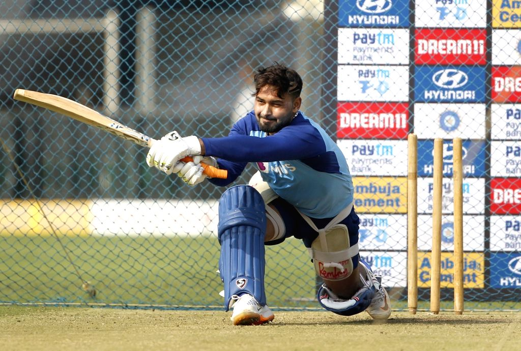 India's Rishabh Pant during a practice session ahead of the 3rd T20I match against Sri Lanka at the Maharashtra Cricket Association Stadium in Pune on Jan 9, 2020.