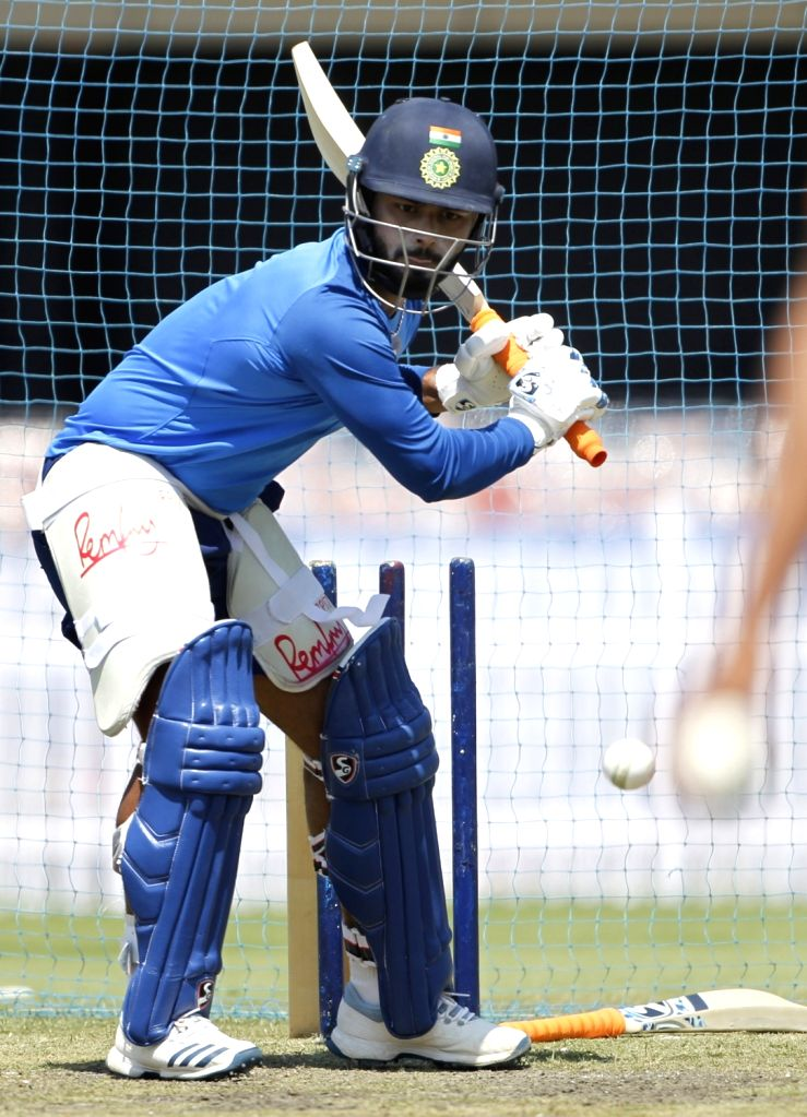 India's Rishabh Pant in action during a practice session ahead of the third ODI match against Australia, in Ranchi, on March 7, 2019.