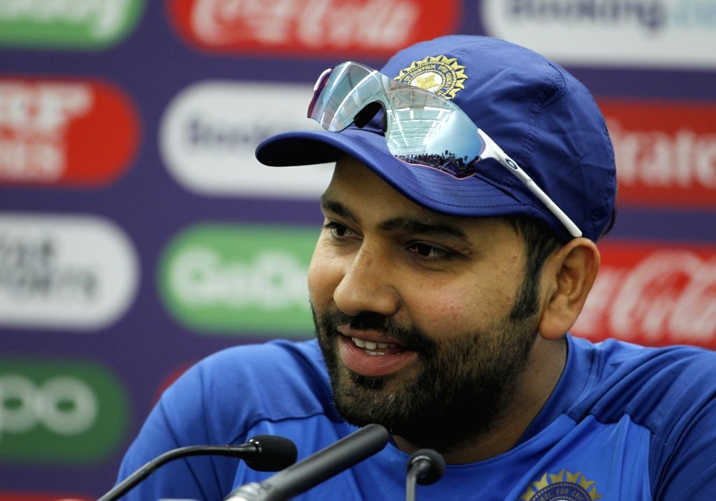 India's Rohit Sharma addresses a press conference ahead of World Cup 2019 match against Australia in London on June 8, 2019. - Rohit Sharma