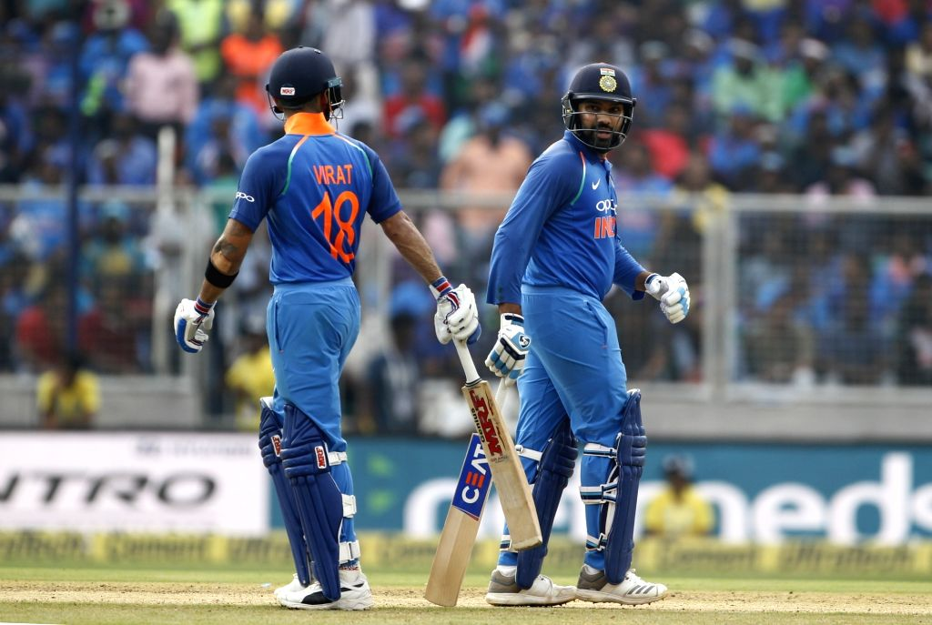 India's Rohit Sharma along with skipper Virat Kohli during the fifth and final ODI match between India and West Indies in Thiruvananthapuram, on Nov. 1, 2018. - Rohit Sharma and Virat Kohli