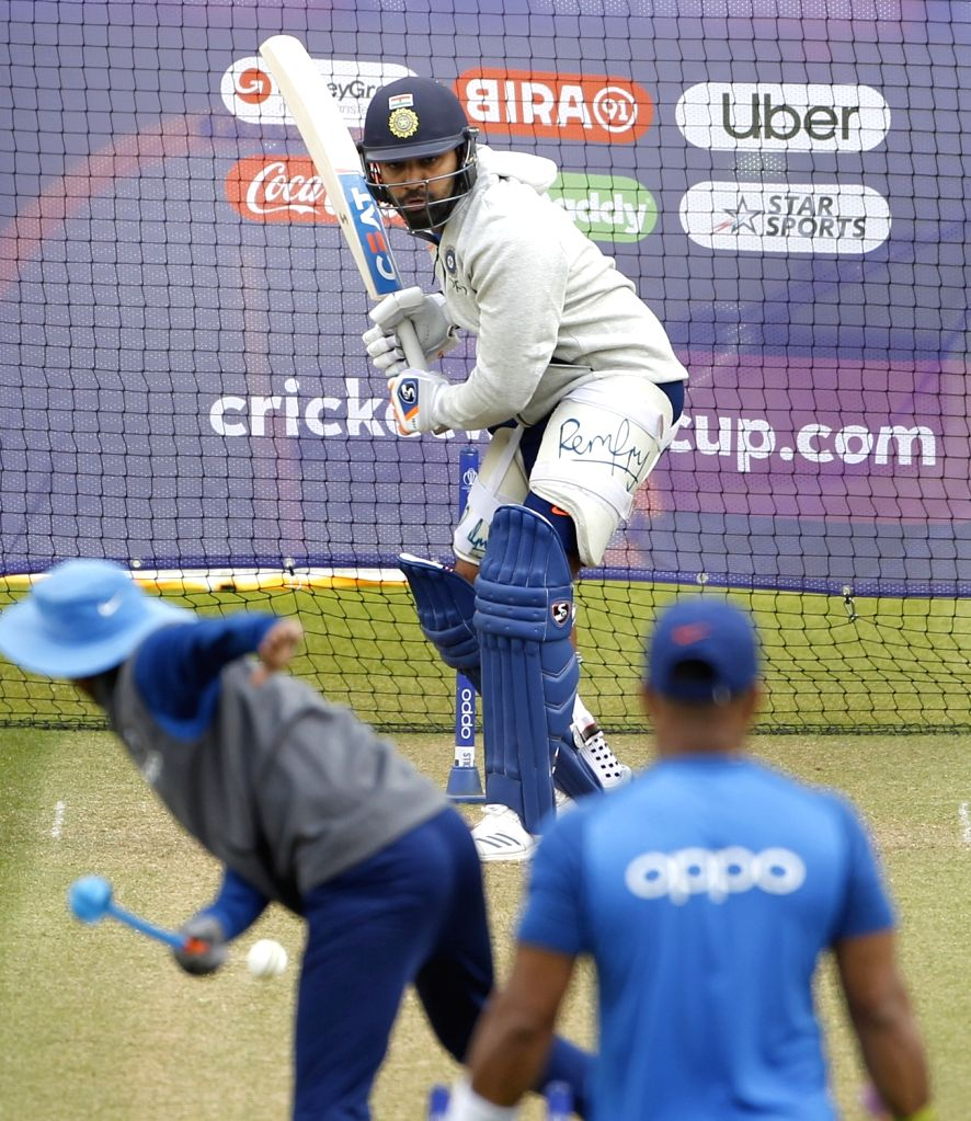 India's Rohit Sharma during a practice session ahead of 2019 ICC Cricket World Cup match against Australia, at the Oval in London on June 8, 2019. - Rohit Sharma