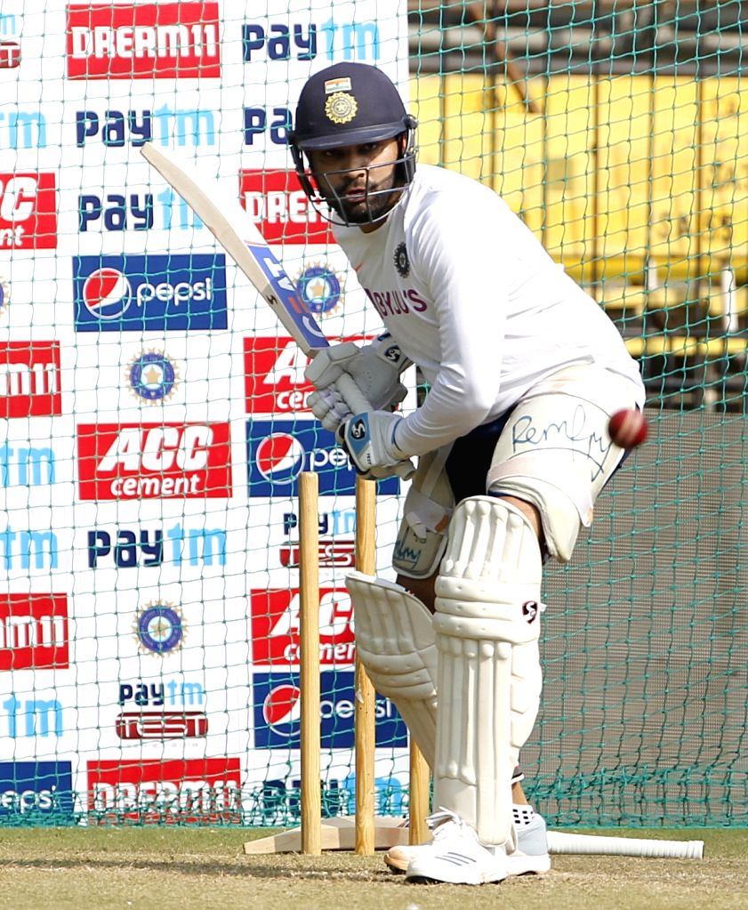 India's Rohit Sharma during a practice session ahead of the 1st Test match against Bangladesh, at Holkar Cricket Stadium in Indore, Madhya Pradesh on Nov 13, 2019. - Rohit Sharma