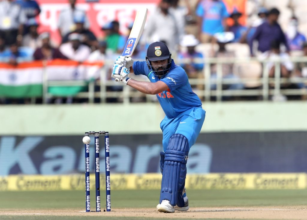 India's Rohit Sharma in action during the second ODI match between India and West Indies at Dr. Y.S. Rajasekhara Reddy ACA-VDCA Cricket Stadium in Visakhapatnam, on Oct 24, 2018. - Rohit Sharma