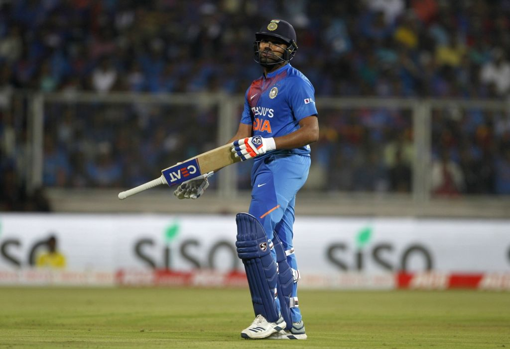 India's Rohit Sharma walks back to the pavilion after getting dismissed during the second T20I match between India and West Indies at the Greenfield International Stadium in ... - Rohit Sharma