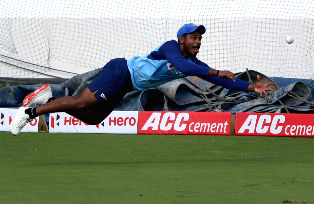 India's Sanju Samson during a practice session ahead of the first Twenty20 match against West Indies at Rajiv Gandhi International Cricket Stadium in Hyderabad on Dec 5, 2019.