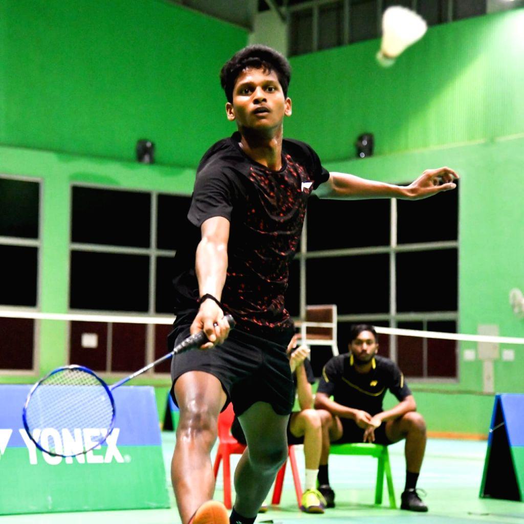 India's Sathish Kumar Karunakaran in action against Mongolia's Sumiyasuren Enkhbat at the Badminton Asia Junior Championships 2019 in Suzhou, China on July 25, 2019. Karunakaran was the only ... - Sathish Kumar Karunakaran