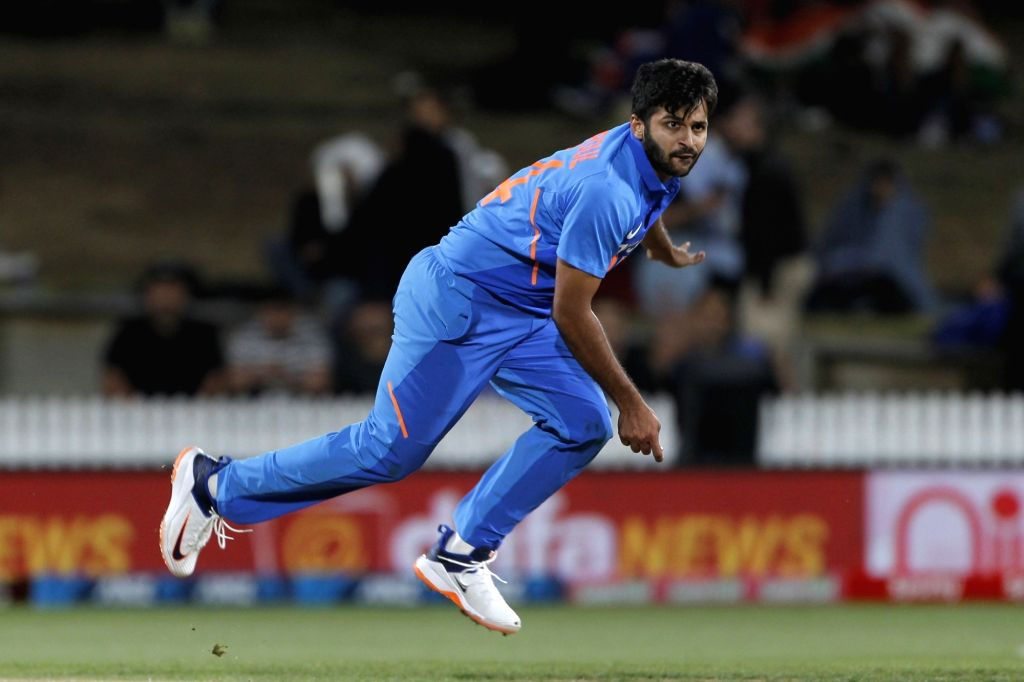 India's Shardul Thakur in action during the 1st ODI of the three-match series between India and New Zealand at the Seddon Park in Hamilton, New Zealand on Feb 5, 2020.