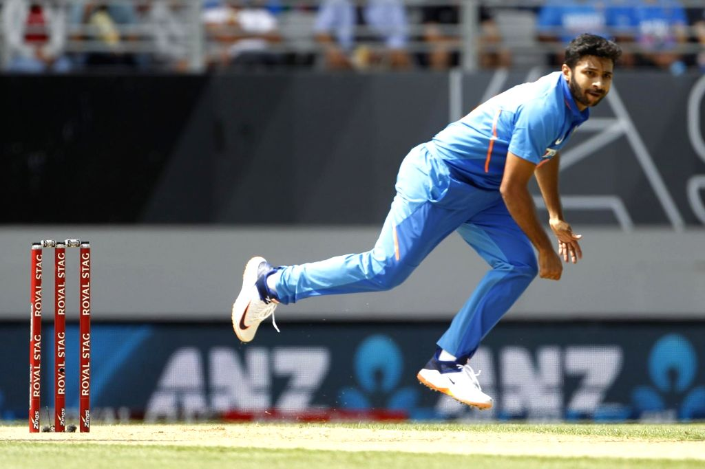 India's Shardul Thakur in action during the 2nd ODI of the three-match series between India and New Zealand at the Eden Park in Auckland,New Zealand on Feb 8, 2020.
