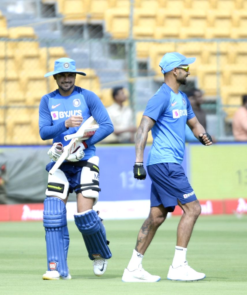 India's Shikhar Dhawan and Manish Pandey during a practice session ahead of the final T20I match against South Africa, at M. Chinnaswamy Stadium in Bengaluru on Sep 21, 2019. - Shikhar Dhawan and Manish Pandey