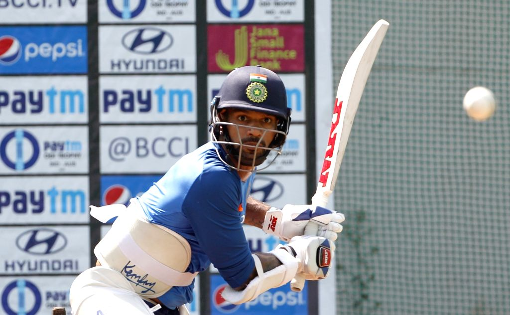 India's Shikhar Dhawan during a practice session ahead of the second ODI match against Australia, at Vidarbha Cricket Association (VCA) Stadium, in Nagpur, on March 4, 2019. - Shikhar Dhawan