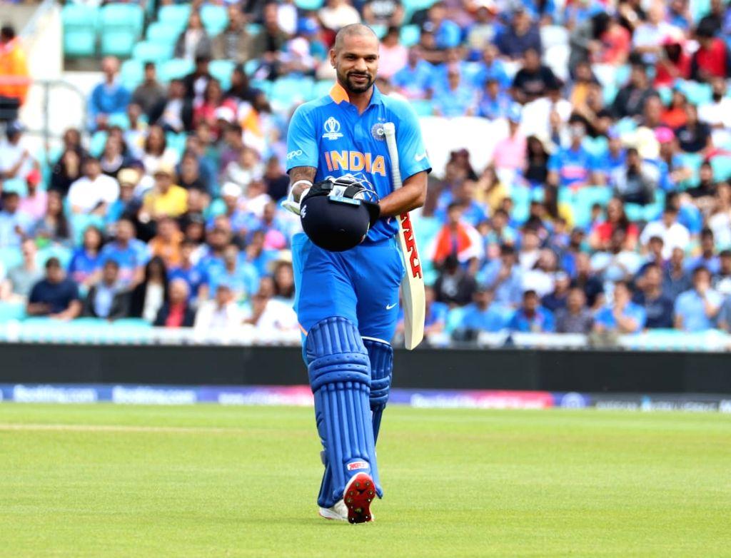 India's Shikhar Dhawan during the first warm-up match between India and New Zealand at the Kennington Oval,  London on May 25, 2019. - Shikhar Dhawan