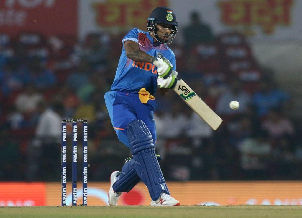India's Shikhar Dhawan in action during the 3rd T20I match between India and Bangladesh at Vidarbha Cricket Association Stadium in Nagpur on Nov 10, 2019. - Shikhar Dhawan