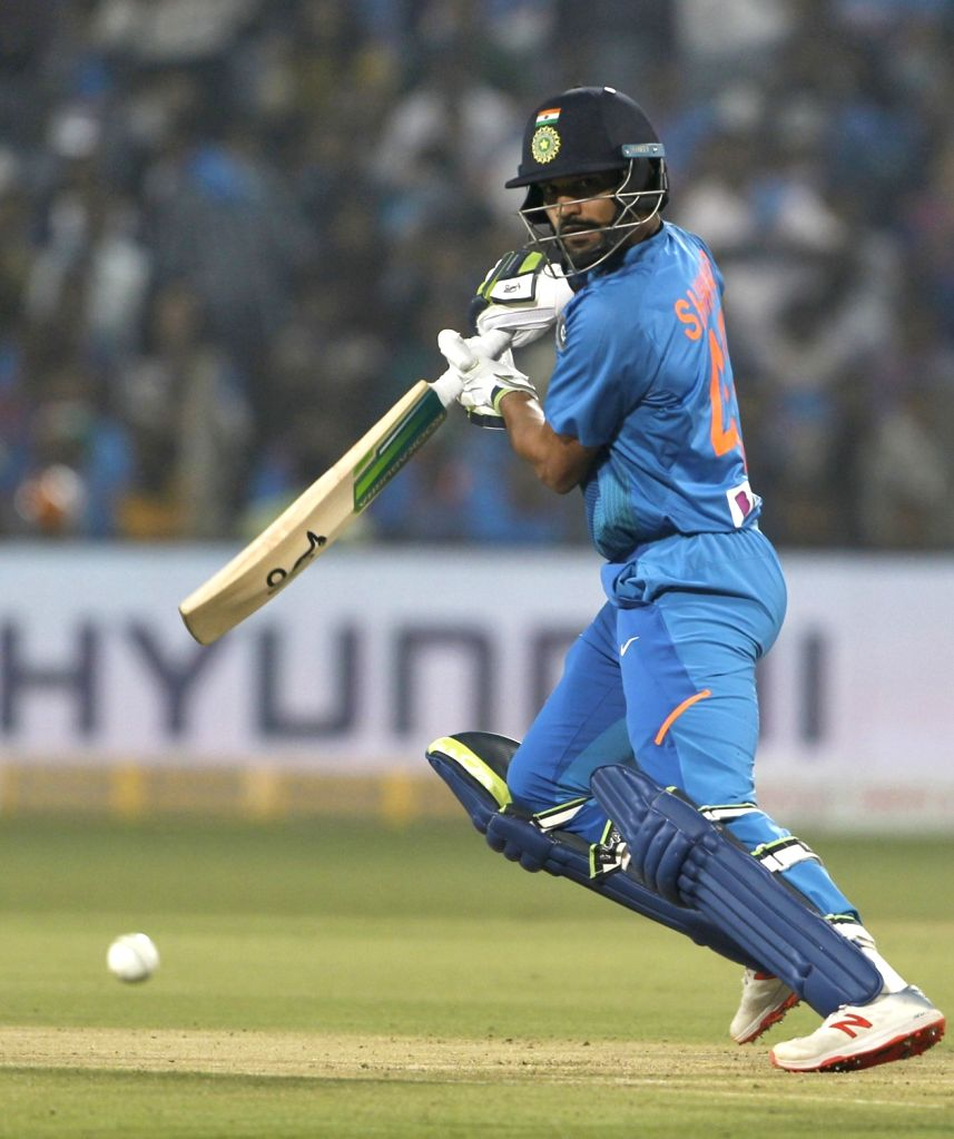 India's Shikhar Dhawan in action during the 3rd T20I match between India and Sri Lanka at the Maharashtra Cricket Association Stadium in Pune on Jan 10, 2020. - Shikhar Dhawan