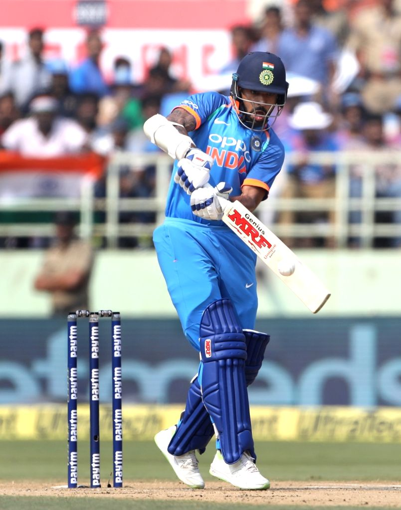 India's Shikhar Dhawan in action during the second ODI match between India and West Indies at Dr. Y.S. Rajasekhara Reddy ACA-VDCA Cricket Stadium in Visakhapatnam, on Oct 24, 2018. - Shikhar Dhawan