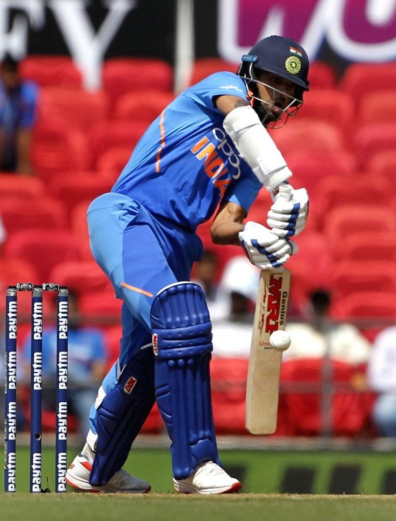 India's Shikhar Dhawan in action during the second ODI match against Australia at Vidarbha Cricket Association (VCA) Stadium, in Nagpur, on March 5, 2019. - Shikhar Dhawan