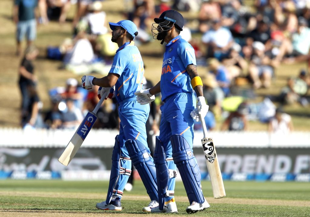 India's Shreyas Iyer and Lokesh Rahul during the 1st ODI of the three-match series between India and New Zealand at the Seddon Park in Hamilton, New Zealand on Feb 5, 2020. - Lokesh Rahul