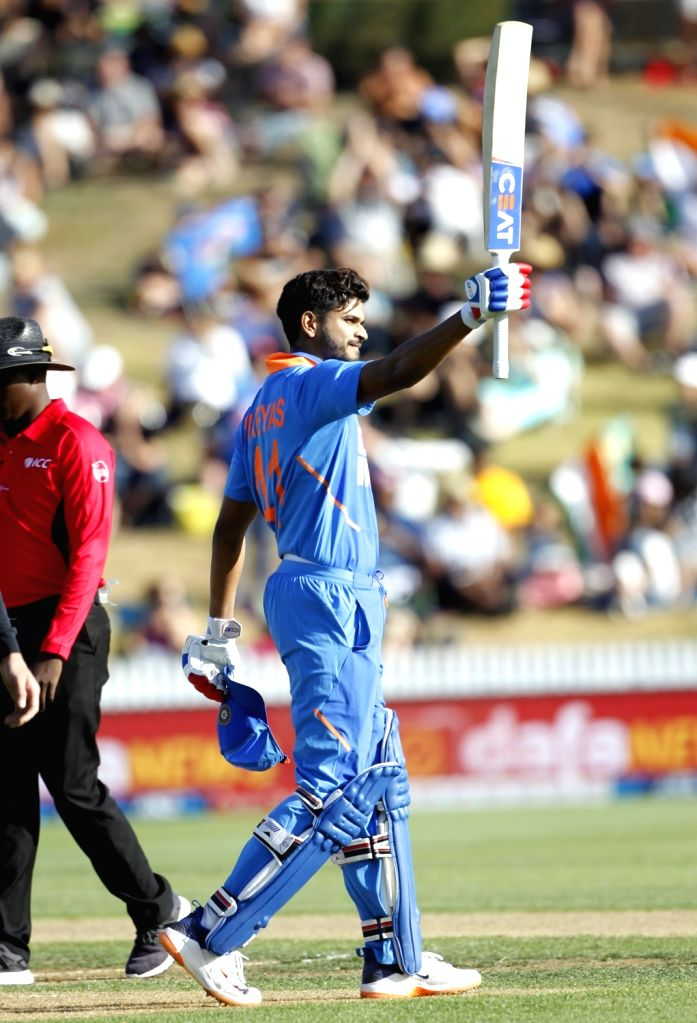 India's Shreyas Iyer celebrates his century during the 1st ODI of the three-match series between India and New Zealand at the Seddon Park in Hamilton, New Zealand on Feb 5, 2020.