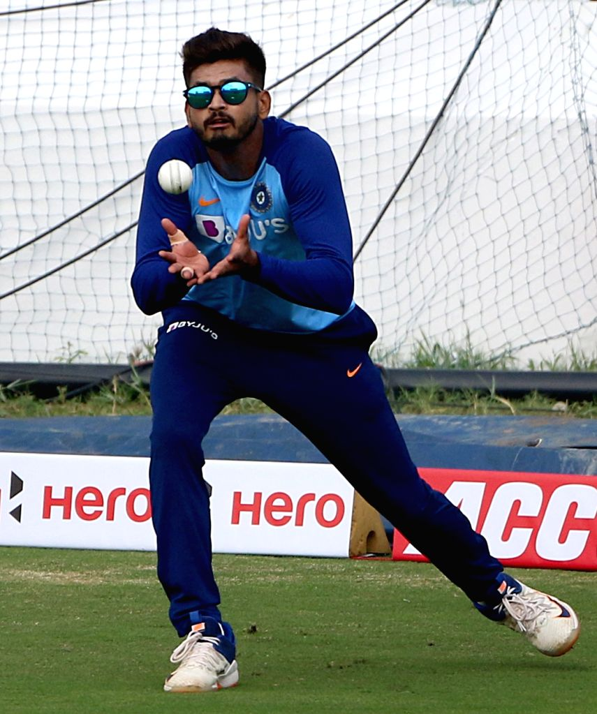 India's Shreyas Iyer during a practice session ahead of the first Twenty20 match against West Indies at Rajiv Gandhi International Cricket Stadium in Hyderabad on Dec 5, 2019.