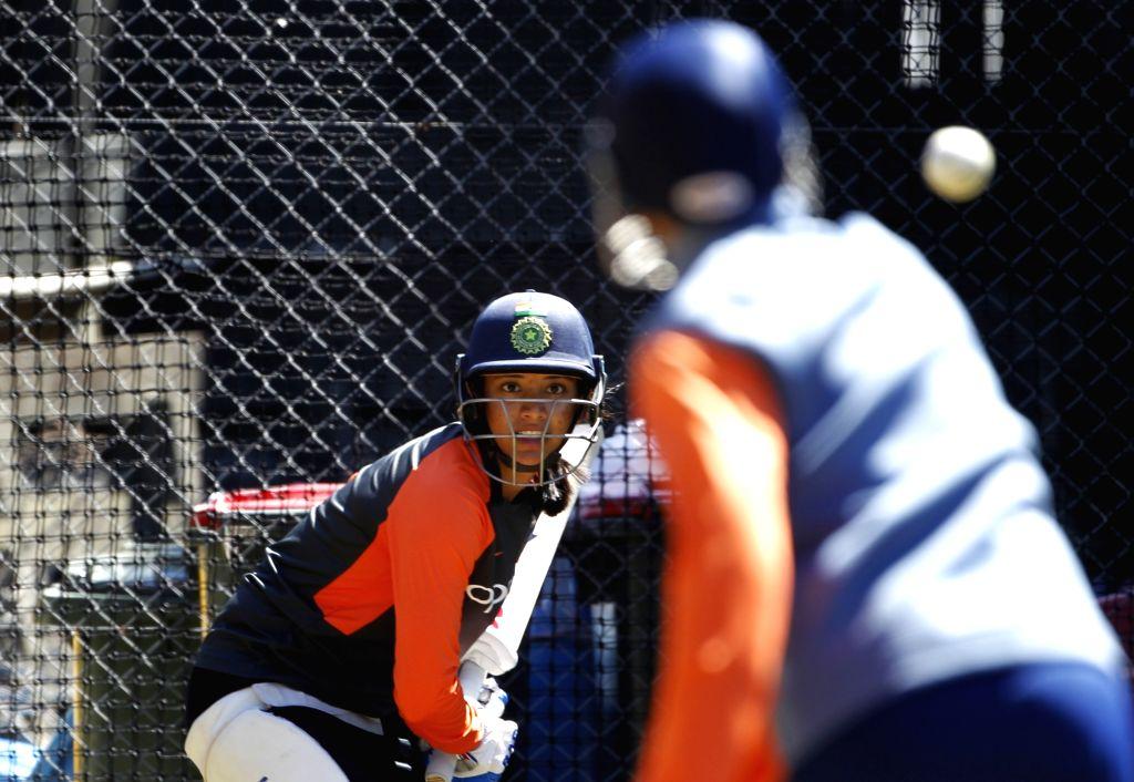 India's Smriti Mandhana during a practice session at Basin Reserve cricket stadium in Wellington, New Zealand on Feb. 5, 2019.