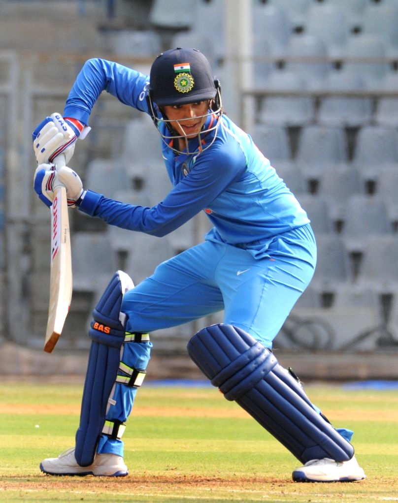 India's Smriti Mandhana in action during the 1st ODI match of ICC Women's Championship between India and England at Wankhede Stadium in Mumbai, on Feb 22, 2019.