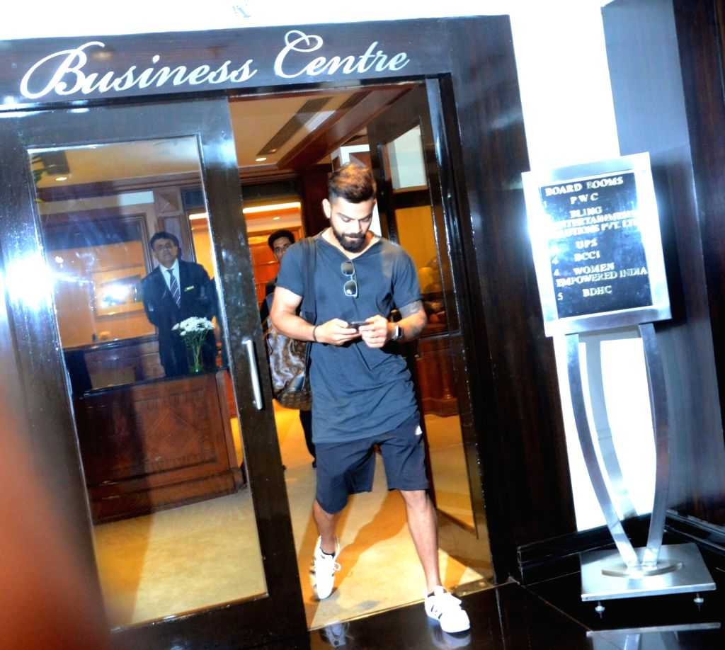 India`s Test captain Virat Kohli arrives to attend Board of Control for Cricket in India (BCCI) meeting to select team for three-match series against New Zealand starting from 22nd ... - Virat Kohli