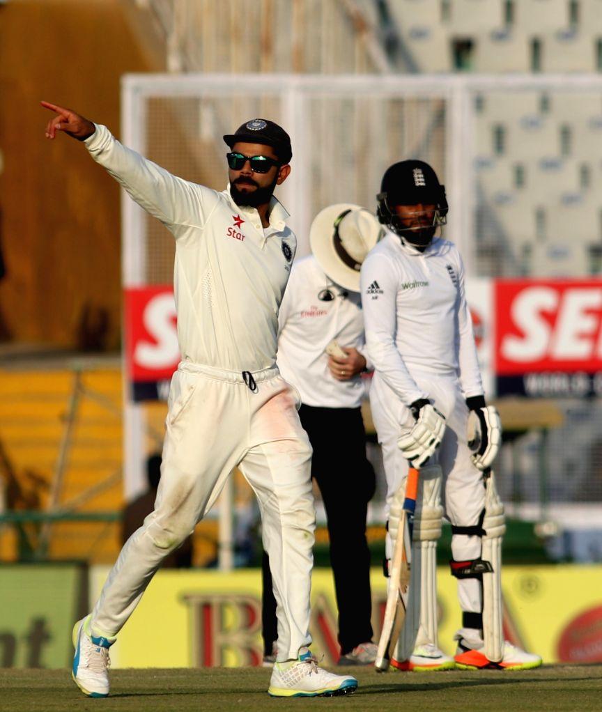 India's Test cricket captain Virat Kohli during the third test match between India and England at Punjab Cricket Association IS Bindra Stadium in Mohali on Nov 26, 2016. - Virat Kohli