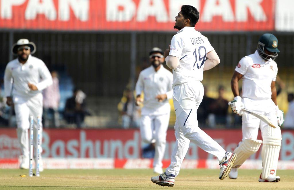 India's Umesh Yadav celebrates the wicket of Imrul Kayes on Day 3 of the 1st Test match between India and Bangladesh at Holkar Cricket Stadium in Indore, Madhya Pradesh on Nov 16, 2019. - Umesh Yadav