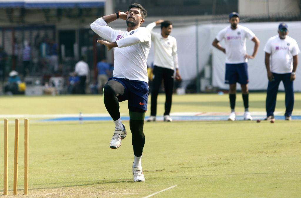 India's Umesh Yadav during a practice session ahead of the 1st Test match against Bangladesh, at Holkar Cricket Stadium in Indore, Madhya Pradesh on Nov 12, 2019. - Umesh Yadav