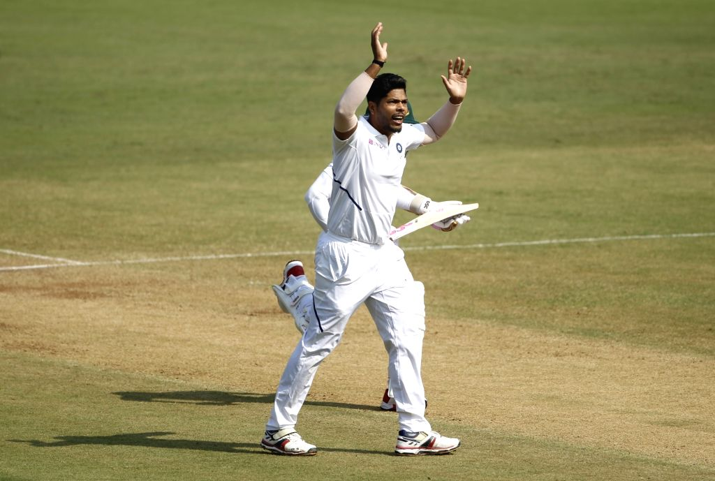 India's Umesh Yadav reacts on Day 3 of the 1st Test match between India and Bangladesh at Holkar Cricket Stadium in Indore, Madhya Pradesh on Nov 16, 2019. - Umesh Yadav