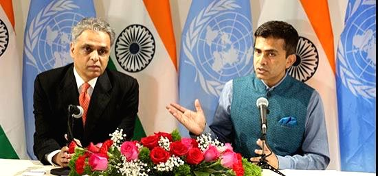 India's United Nations Permanent Representative Syed Akbaruddin, left, and External Affairs Ministry Spokesperson Raveesh Kumar brief the media in New York on Saturday, Sept. 16, 2017, about India's ...