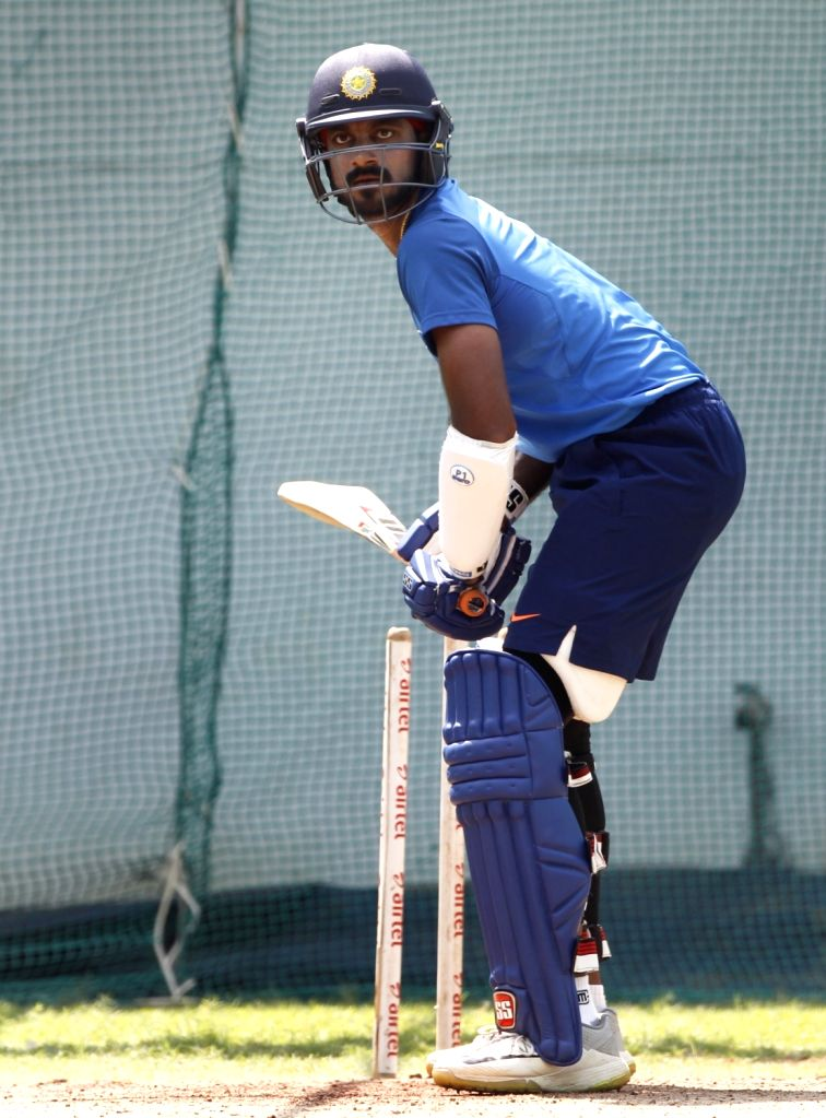 India's Vijay Shankar during a practice session ahead of the 2nd ODI match against Australia, at Vidarbha Cricket Association (VCA) Stadium, in Nagpur, on March 4, 2019.