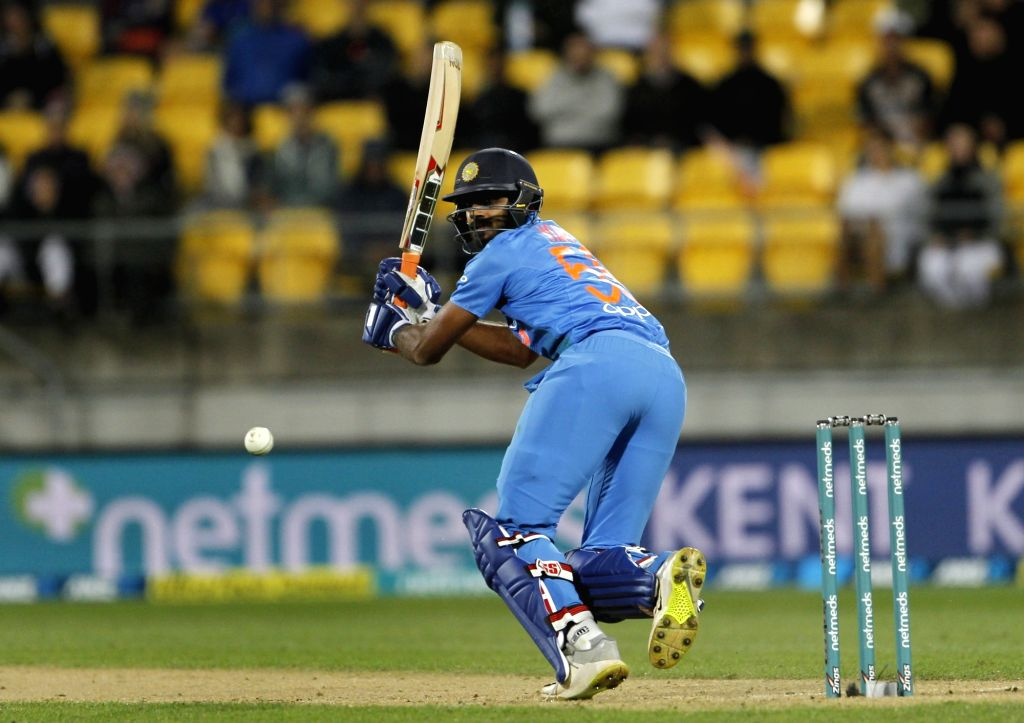 India's Vijay Shankar in action during the first T20I match between India and New Zealand at Westpac Stadium in Wellington, New Zealand on Feb 6, 2019.