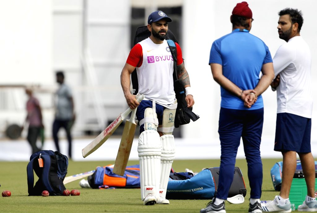 India's Virat Kohli and Rohit Sharma during a practice session ahead of the 1st Test match against Bangladesh, at Holkar Cricket Stadium in Indore, Madhya Pradesh on Nov 13, 2019. - Virat Kohli and Rohit Sharma