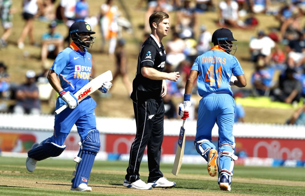 India's Virat Kohli and Shreyas Iyer during the 1st ODI of the three-match series between India and New Zealand at the Seddon Park in Hamilton, New Zealand on Feb 5, 2020. - Virat Kohli
